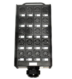 Коробка мультикора с разъемами, 32 XLR female, с возможностью включения заземления на каждый канал индивидуально, 8 XLR male, 1 CMILV150MP male.